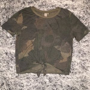 Tops - Camo Tie-Front Cropped Tee